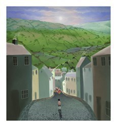 The Boy Without a Bike by Mackenzie Thorpe -  sized 15x13 inches. Available from Whitewall Galleries